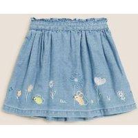 M&S Girls Mini Denim Embroidered Skirt (2-7 Yrs) - 3-4 Y, Denim