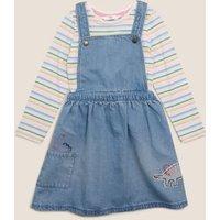 M&S Girls 2 Piece Denim Dinosaur Pinafore Outfit (2-7 Yrs) - 4-5 Y, Denim