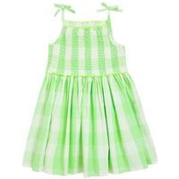 MandS Girls Pure Cotton Checked Dress (2-7 Yrs) - 2-3 Y - Green Mix, Green Mix