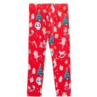 M&S Girls Cotton Christmas Print Leggings (2-7 Yrs) - 3-4 Y - Red, Red