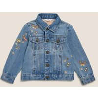 MandS Girls Embroidered Denim Jacket(2-7 Yrs) - 3-4 Y, Denim