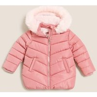 M&S Girls Stormweartm Faux Fur Lined Hooded Padded Coat (2-7 Yrs) - 3-4 Y - Pink, Pink