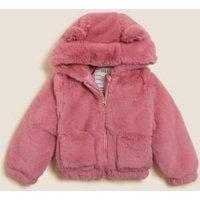 M&S Girls Faux Fur Hooded Jacket (2-7 Yrs) - 3-4 Y - Pink, Pink