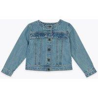 MandS Girls Denim Frill Jacket (2-7 Yrs) - 3-4 Y, Denim