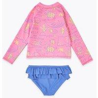 M&S Girls Sea Creature Long Sleeve Rash Vest Set (2-7 Yrs) - 2-3 Y - Pink Mix, Pink Mix