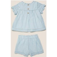 MandS Girls 2pc Pure Cotton Gingham Outfit (0-3 Yrs) - 3-6 M - Aqua Marine, Aqua Marine