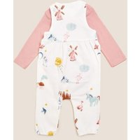 M&S Girls 2pc Pure Cotton Printed Dungaree Outfit (0-3 Yrs) - 9-12M - Ivory Mix, Ivory Mix