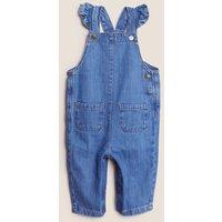M&S Girls 2pc Pure Cotton Denim Dungaree Outfit (0-3 Yrs) - 3-6 M - Med Blue Denim, Med Blue Denim