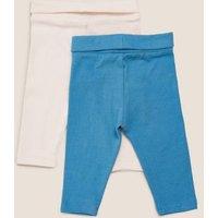 M&S Boys 2pk Cotton Leggings (0 -12 Mths) - NB - Multi, Multi