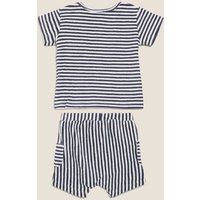 M&S Boys 2pc Cotton Towelling Striped Outfit (0-3 Yrs) - 0-3 M - Indigo Mix, Indigo Mix