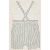 MandS Boys 2pc Pure Cotton Striped Outfit (0-3 Yrs) - 3-6 M - Indigo Mix, Indigo Mix