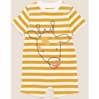 M&S Boys 2pk Pure Cotton Striped Animal Rompers (0-3 Yrs) - 3-6 M - Ivory Mix, Ivory Mix