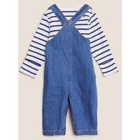 M&S Boys 2pc Cotton Denim Dungarees Outfit (0-3 Yrs) - 0-3 M, Denim
