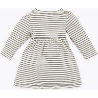 M&S Girls Cotton Striped Dress (0-3 Yrs) - 3-6 M - Oatmeal Mix, Oatmeal Mix