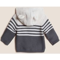 MandS Unisex Boys Girls Pure Cotton Knitted Chunky Striped Cardigan (0-3 Yrs) - 0-3 M - Charcoal Mix, Charcoal Mix