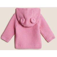 MandS Boys Pure Cotton Chunky Knitted Cardigan (0-3 Yrs) - 0-3 M - Dusky Pink, Dusky Pink,Dark Indigo,Grey Marl,Ivory,Beige