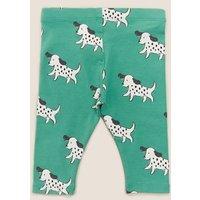 MandS Unisex Boys Girls Organic Cotton Dog Print Leggings (0-3 Yrs) - 3-6 M - Mint Mix, Mint Mix