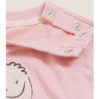 M&S Girls Cotton Bunny Print Top (0-3 Yrs) - 3-6 M - Dusky Pink, Dusky Pink