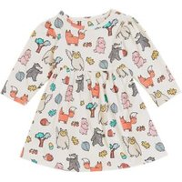 M&S Girls Pure Cotton Woodland Print Dress (0-3 Yrs) - 0-3 M - Cream Mix, Cream Mix