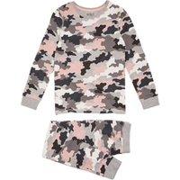 M&S Girls Cotton Camouflage Pyjama Set (7-16 Years) - 7-8 Y - Pink Mix, Pink Mix