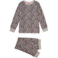 M&S Girls Cotton Leopard Pyjama Set (7-16 Yrs) - 7-8 Y - Grey Mix, Grey Mix