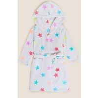 M&S Girls Fleece Star Dressing Gown (6-16 Yrs) - 7-8 Y - Grey Mix, Grey Mix