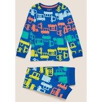 M&S Boys Cotton Transport Print Pyjama Set (1-7 Yrs) - 1-1+Y - Blue Mix, Blue Mix