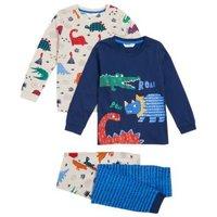 M&S Boys 2pk Pure Cotton Dinosaur Pyjama Set (1-7 Yrs) - 1+-2Y - Multi, Multi