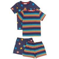 M&S Boys 2pk Pure Cotton Rainbow Short Pyjama Sets (1-7 Yrs) - 1+-2Y - Multi, Multi