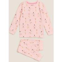 M&S Girls Cotton Ballerina Pyjamas (1-7 Yrs) - 1-1+Y - Pink Mix, Pink Mix