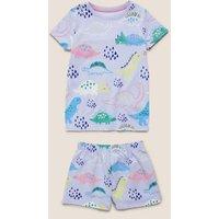 M&S Girls Cotton Dinosaur Short Pyjama Set (1-7 Yrs) - 1-1+Y - Purple Mix, Purple Mix
