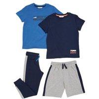 M&S Boys 2pk Cotton Slogan Pyjama Sets (6-16 Yrs) - 7-8 Y - Blue Mix, Blue Mix