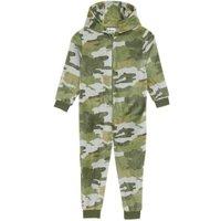 M&S Boys Fleece Camouflage Onesie (6-16 Yrs) - 6-7 Y - Khaki, Khaki