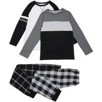M&S Boys 2pk Cotton Check Pyjama Sets (6-16 Yrs) - 7-8 Y - Multi, Multi