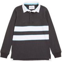MandS Boys Pure Cotton Striped Rugby Top (6-16 Yrs) - 7-8 Y - Black, Black