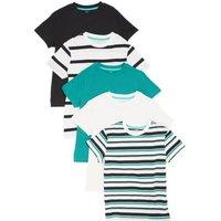 M&S Boys 5pk Pure Cotton Striped & Plain T-Shirts (6-16 Yrs) - 7-8 Y - Multi, Multi
