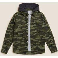 M&S Boys 2pc Cotton Camouflage Shirt & T-Shirt Set (6-16 Yrs) - 7-8 Y - Khaki, Khaki