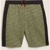 M&S Boys Cotton Side Stripe Shorts (6-16 Yrs) - 7-8 Y - Sage, Sage