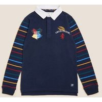 MandS Boys Pure Cotton Harry Potter™ Rugby Top (2-16 Yrs) - 3-4 Y - Navy, Navy