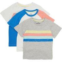 MandS Boys 3pk Cotton Colour Block T-Shirts (2-7 Yrs) - 2-3 Y - Multi, Multi