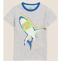 M&S Boys Cotton Reversible Sequin Shark T-Shirt (2-7 Yrs) - 2-3 Y - Grey Mix, Grey Mix