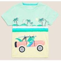 M&S Boys Pure Cotton Dinosaur T-Shirt (2-7 Yrs) - 3-4 Y - Multi, Multi