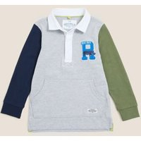 MandS Boys Pure Cotton Rugby Top (2-7 Yrs) - 2-3 Y - Grey Mix, Grey Mix