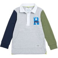 M&S Boys Pure Cotton Rugby Top (2-7 Yrs) - 2-3 Y - Grey Mix, Grey Mix