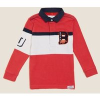 MandS Boys Pure Cotton Colour Block Rugby Top (2-7 Yrs) - 3-4 Y - Red Mix, Red Mix