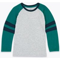 M&S Boys Cotton Rich Patterned Top (2-7 Yrs) - 2-3 Y - Grey Mix, Grey Mix