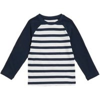 M&S Boys Pure Cotton Striped Top (2-7 Yrs) - 3-4 Y - Navy Mix, Navy Mix
