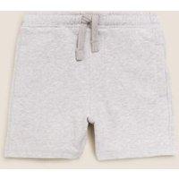 M&S Boys Cotton Plain Shorts (2-7 Yrs) - 3-4 Y - Grey, Grey