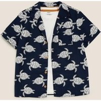 M&S Boys 2pc Cotton Turtle Print Shirt with Shirt (2-7 yrs) - 3-4 Y - Navy Mix, Navy Mix
