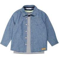 M&S Boys 2pc Pure Cotton Denim Shirt with T-Shirt (2-7 Yrs) - 3-4 Y, Denim